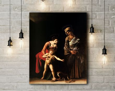 Caravaggio: Madonna with the Serpent. Fine Art Canvas.